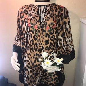 Bebe Leopard Cheetah Embroidered Dress Cape